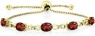 Red Garnet and Diamond 18K Yellow Gold Plated Silver Gemstone Birthstone Tennis Bracelet 4.50 Ct Oval