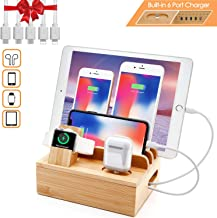 Bamboo Charger Station for Multiple Devices Sendowtek 6-in-1 USB Charging Station with 5-Port for Cell Phone Tablet Electronic, Watch Stand Earbuds Docking Station Organizer-5 Mixed Cables Included