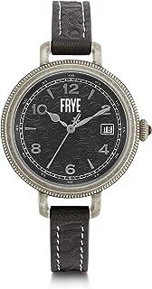 FRYE MELISSA - Reloj de pulsera para mujer, acero inoxidable, correa de piel de cuarzo japonés, negro, 10 relojes informales (Modelo: 37212464SLV049)