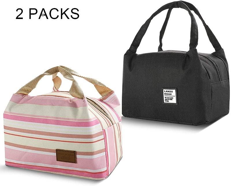 Insulated Lunch Bag 2PCs Msova Cooler Lunch Bag For Men Women Kids Lunchbox For Adult Women Gray Rainbow Stripe