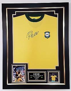 WWW.SIGNEDMEMORABILIASHOP.CO.UK Camiseta firmada por Pele Brasil con autógrafo