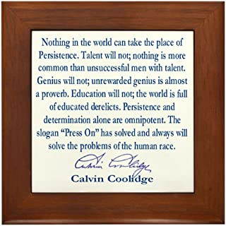 calvin coolidge persistence quote framed