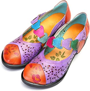 gracosy Mocassins Cuir Femmes, Chaussures de Ville Automne Hiver Escarpins à Talons Moyens Carres Mary Janes Bride Chevill...
