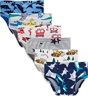 100% Cotton Little Boys Briefs Soft Dinosaur Truck...