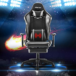 Merax Ergonomic Gaming Chair with Footrest Racing Office Adjustable Swivel Desk Chair Home Office Computer Chair Headrest Support (Grey & Black)