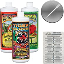 Fox Farm Liquid Nutrient Trio Soil Formula: Big Bloom, Grow Big, Tiger Bloom (Pack of 3 - 32 oz. bottles) 1 Quart Each + Twin Canaries Chart & Pipette