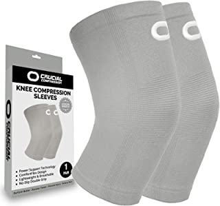 Knee Brace Compression Sleeve (1 Pair) - Best Knee Support Braces for Meniscus Tear, Arthritis, Joint Pain Relief, Injury Recovery, ACL, MCL, Running, Workout, Basketball, Sports, Men and Women