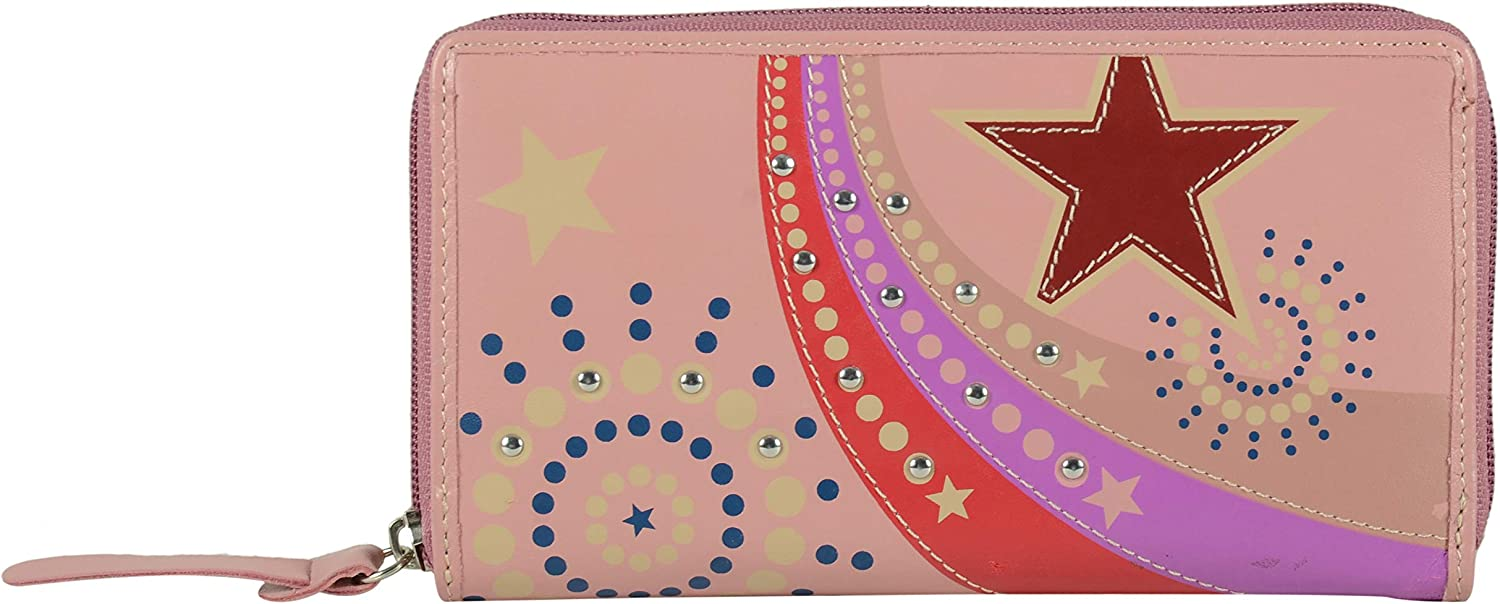 Tresori Women's Real Leather RFID Data Predected Zip Around Large Wallet