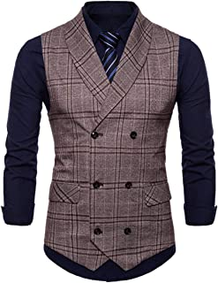 Slim Fit Men's Double Retro Breasted Vest Suit Modern Casual Vintage Tweed Business Vest Checked Pattern Tuxedo Waistcoat ...