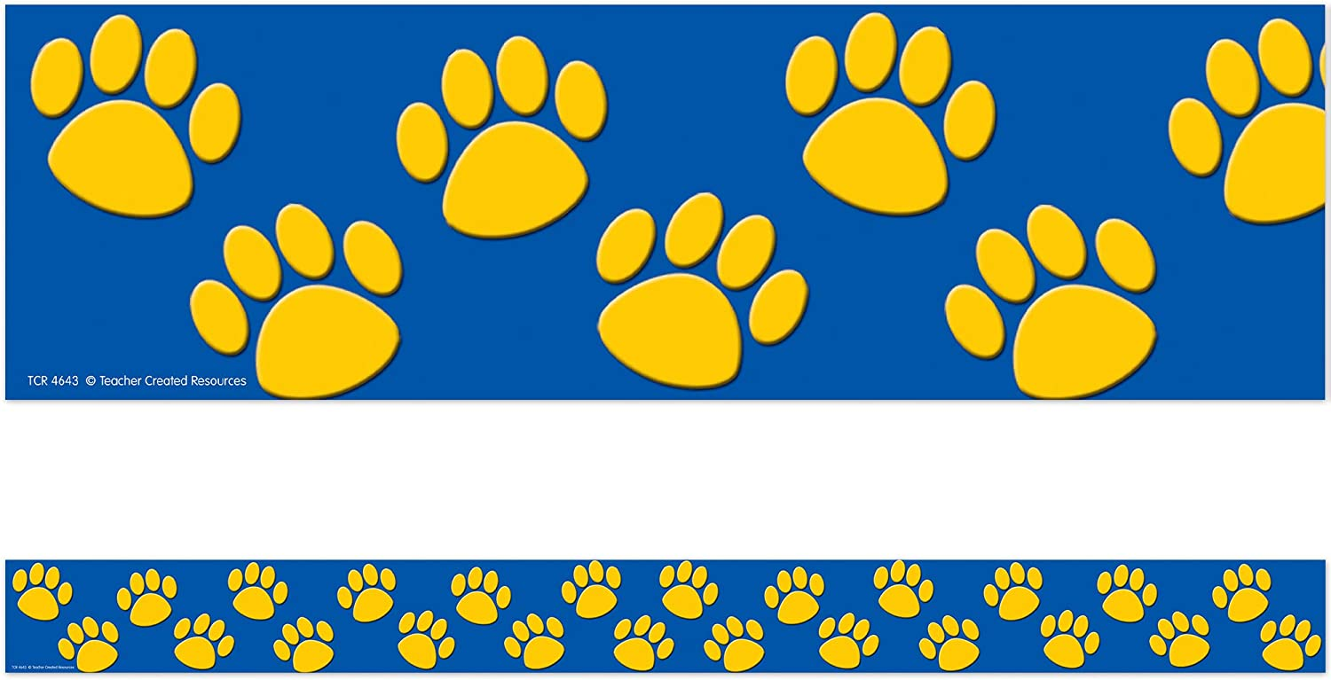 Teacher Created Resources Blue with Gold Paw Prints Border Trim