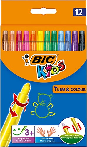 BIC 8805082 Kids Turn and Colour Crayons - Assorted Colours, Pack of 12