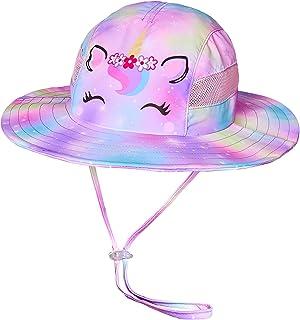 Sun Hat for Baby Girls Unicorn Summer Hat UPF 50+ Sun Protective Kids Girl Wide Brim Beach Cap Toddler Bucket Hat