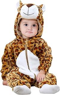 ANUFER Unisex Baby Mit Kapuze Strampler Flanell Niedlich Tier Overall Pyjama 0-36 Monate
