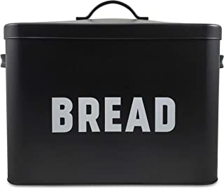 Metal Bread Box - Countertop Space-Saving, Extra Large, High Capacity Bread Storage Bin for your Kitchen - Holds 2+ Loaves - Black with Bold BREAD Lettering