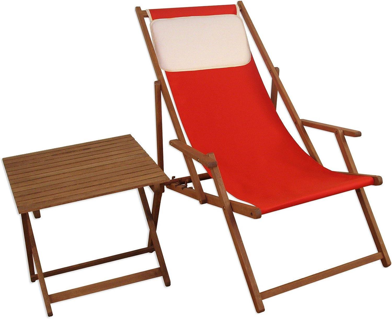 Erst-Holz Liegestuhl Gartenliege rot Kissen Tisch Deckchair Buche Sonnenliege Sonnenstuhl 10-308 T KH
