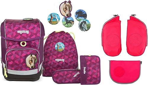 Ergobag Cubo Nachtschw b Schulrucksack Set 6tlg. - inkl. Seitentaschen (Rosa)