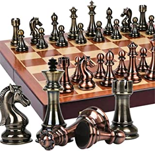 Chess,Metal Chess Set with 20 Inch Deluxe Wood Chessboard - Upgraded Magnetic Chesspiece - Perfect for International Game,...