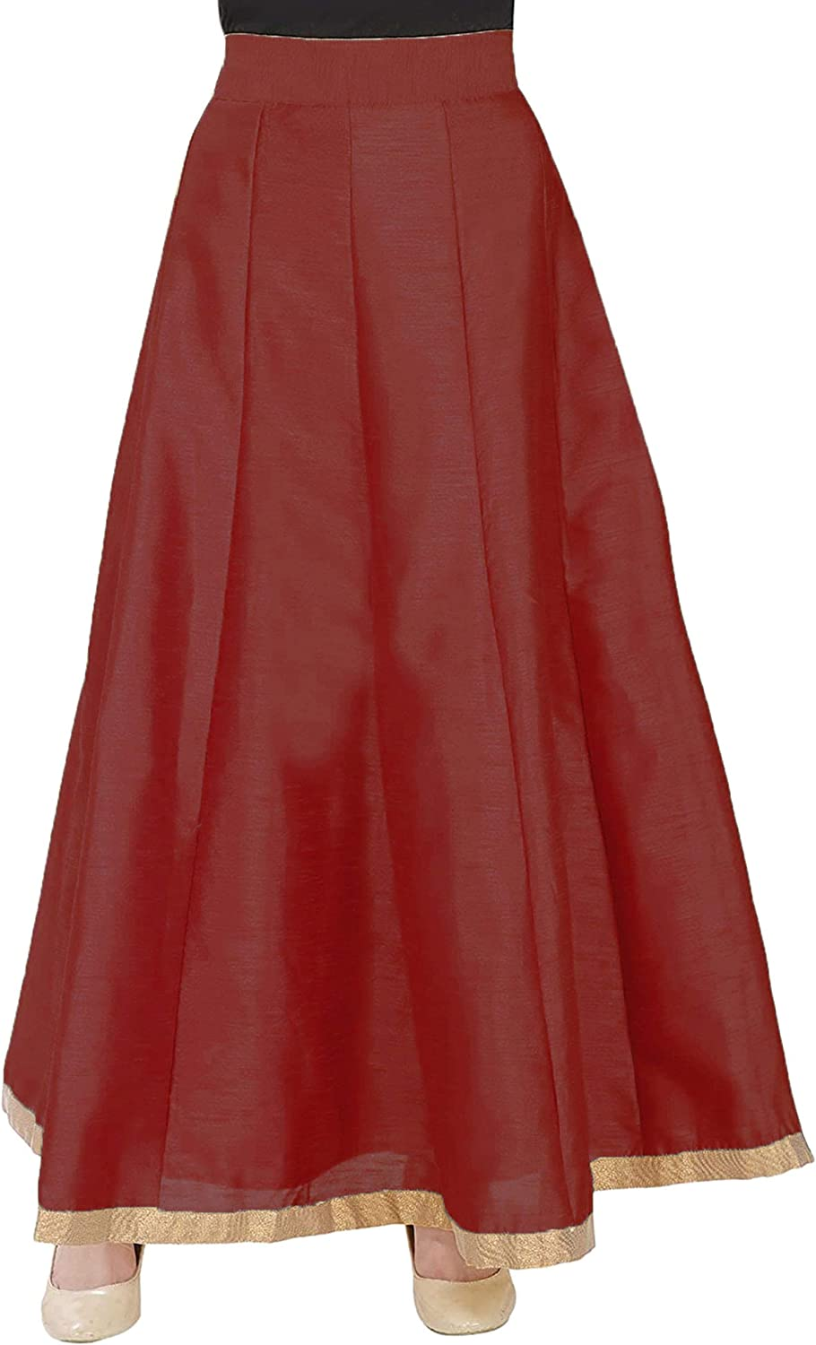 Women Solid with Border Dupion Silk Skirt Free Size Party Night Club Cocktail Party Gift