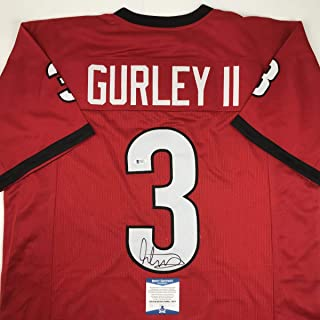 Autographed/Signed Todd Gurley Georgia Red College Football Jersey Beckett BAS COA