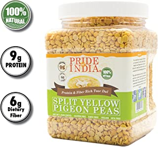 Pride Of India - Indian Split Yellow Pigeon Peas - Protein & Fiber Rich Toor (Arahar) Dal, 1.5 Pound Jar
