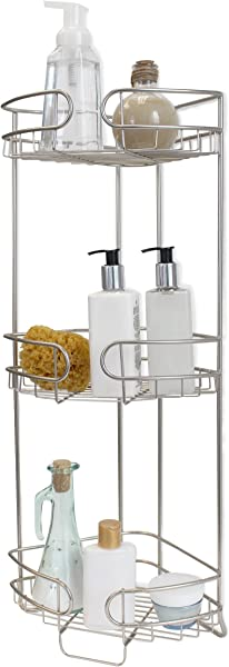 Splash Home Corner Shower Caddy For Bathroom 3 Shelf Storage Tower 26 X 8 X 10 5 Inches Satin Nickel