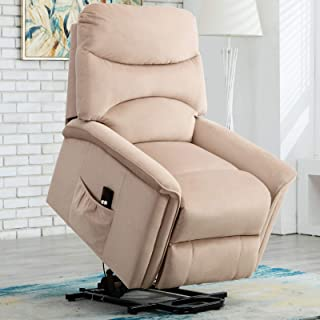 ANJ Power Lift Recliner Chair for Elderly - Heavy Duty and Safety Motion Reclining Mechanism-Antiskid Fabric Sofa Living Room Chair, Buff
