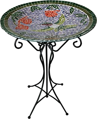 Gardener's Select A14BFG01A  Mosaic Glass Bath and Stand, Humming Bird Design