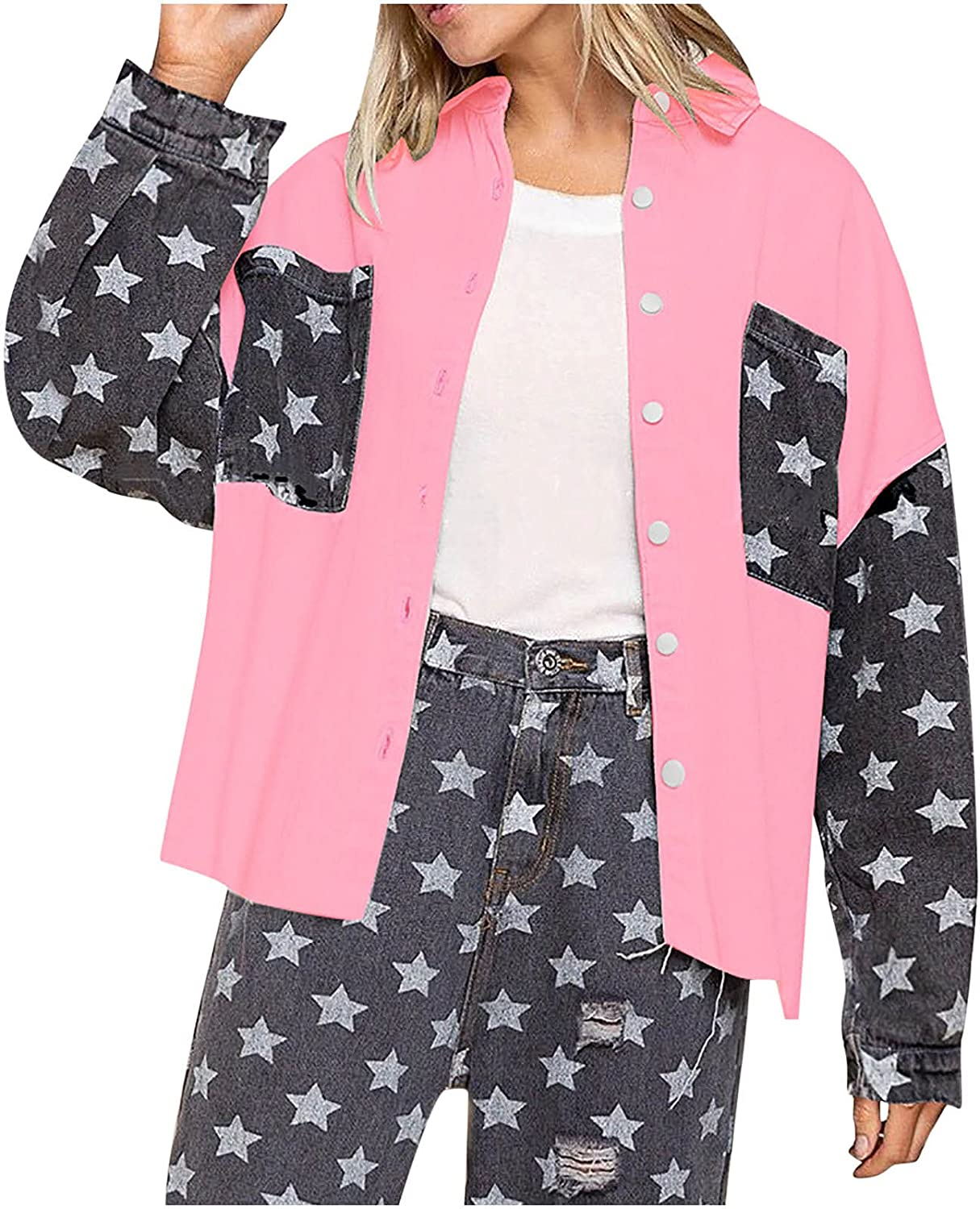 Star Print Jacket Women Button Down Lapel Long Sleeve Open Front Outwear Fashion Loose Fall Coat Tops With Pockets