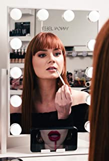 Rebel Poppy Makeup Vanity Mirror with Lights - Lighted Cosmetic Vanity Mirror with Phone Holder, 3 Colour Touch Control with Dimmable LED Bulbs, Hollywood Style Makeup Mirror, White