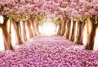 CSFOTO 10x7ft Background Romantic Tunnel Photography Backdrop Blooming Cherry Flower Trees Green Pathway Romantic Wedding Ceremony Spring Season Resort Vacation Photo Studio Props Vinyl Wallpaper