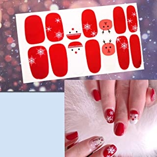 6 Sheets Christmas Manicure Full Nail Wraps Art Polish Stickers Decal Strips Adhesive False Nail Design Manicure Set With 1Pc Nail Buffers FilesFor Women Girls-Christmas Style