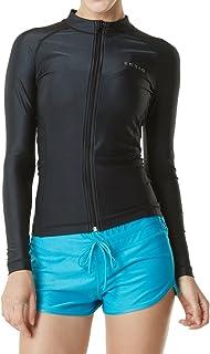 TSLA Women's UPF 50+ Zipper Rash Guard, Water Sufing Long/Short Sleeve Swimsuit, UV/Sun Protection Swim Shirts Wetsuit Top