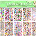 Stickers for Kids, 3D Puffy Stickers, 64 Different Sheets, 3200+ Stickers, Including Animals, Cars, Airplane, Food, Letters, Flowers, Pets, Cakes and Tons More from Chengpin Made