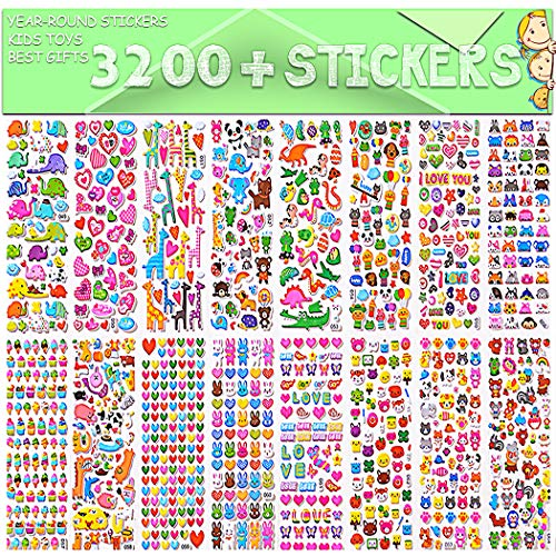 Stickers for Kids, 3D Puffy Stickers, 64 Different Sheets, 3200+ Stickers, Including Animals, Cars, Airplane, Food, Letters, Flowers, Pets, Cakes and Tons More