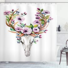 Deer Shower Curtain Skulls Decorations Collection by Ambesonne, Animal Skull with Floral Horns Nature Inspired Dead and Living Art Print, Polyester Fabric Bathroom Set with Hooks, Cream Pink Brown