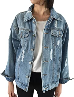 JudyBridal Oversize Denim Jacket for Women Ripped Jean...