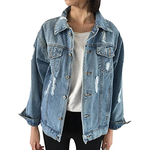2105cb91 JudyBridal Oversize Denim Jacket Women Ripped Jean Jacket Boyfriend Long  Sleeve Coat