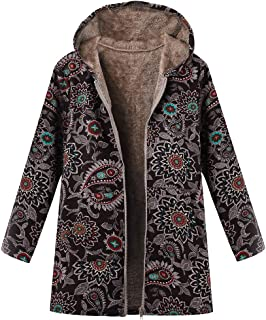 Womens Fleece Jacket Hooded Vintage Ethnic Floral Print Plus Plush Coat Warm Winter Coat Quilted Jacket