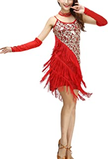 whitewed Women's Sequin Tassel 1920s Fashion Knitted Jersey Jazz Dresses Costumes