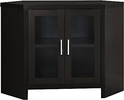 "Monarch Specialties Cappuccino Corner with Glass Doors TV Stand, 42"", Brown"