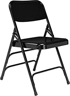 National Public Seating 300 Series, Model 310 All Steel Premium Folding Chair with Triple Brace, 480 lbs Capacity, Black (Carton of 4)