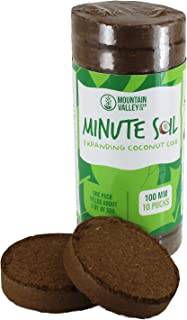 Minute Soil - Compressed Coco Coir Fiber Grow Medium - 100 MM Discs - 10 Pack = 4.25 Gallons of Potting Soil - Gardening, House Plants, Flowers, Herbs, Microgreens, Wheatgrass - Just Add Water - OMRI