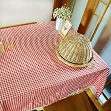 VEECOME Plaid Table Cover Lace Edge Dining Cotton Linen Table Cloth Stylish