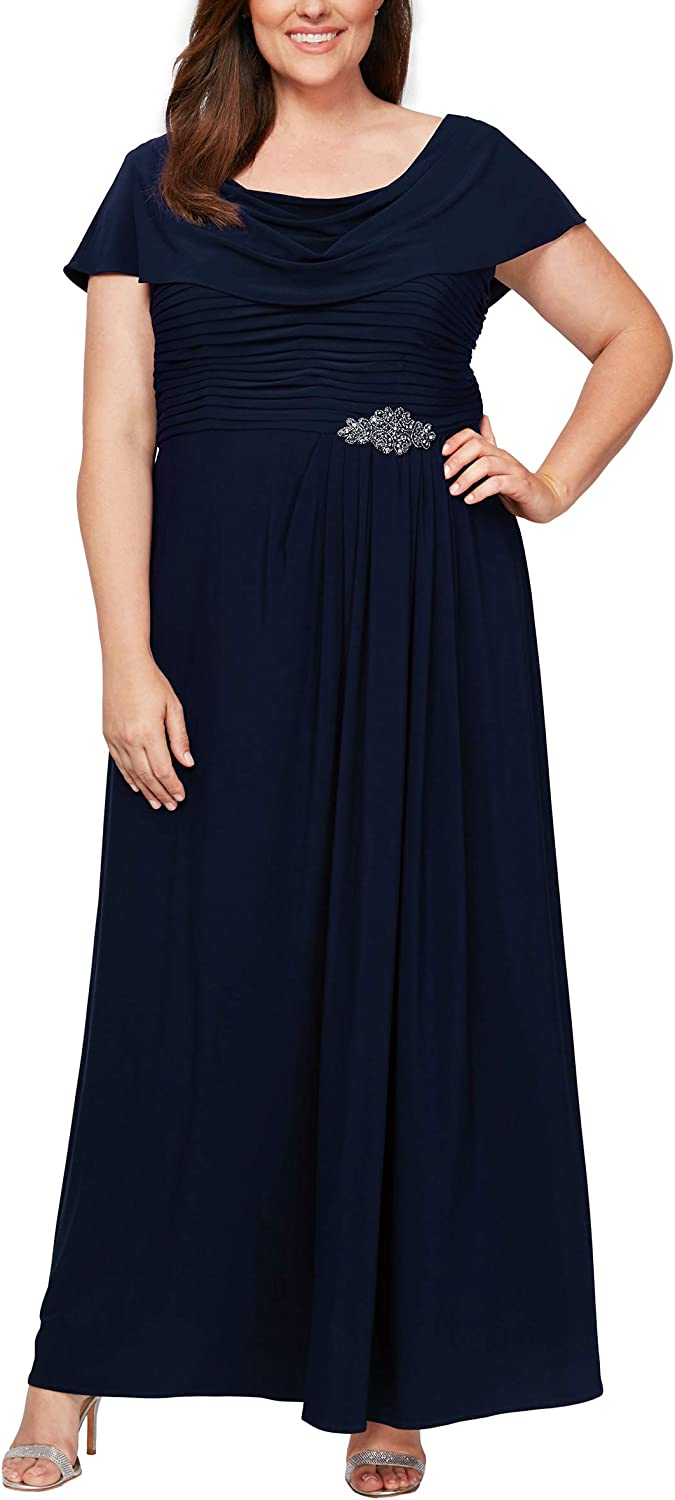 Alex Evenings Women's At the price Plus Size Dress Cowl A-line Max 88% OFF Neck Long