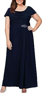 Women's Plus Size Long Cowl Neck A-line Dress