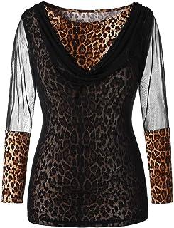 TIFIY Top da Donna a Maniche Lunghe con Stampa Leopardata Elegante Sexy Casual Tops Blusa Taglie Forti Maglia Maglione Pul...