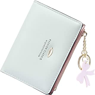 VOCUS Small Wallets for Women Bifold Credit Card Holder Zip Coin Pocket with Keychain
