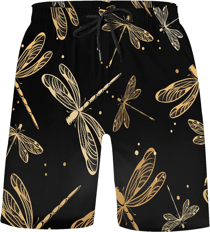 Unique Gold Dragonflies On Black Bathing Suits Athletic Shorts Swim Trunks for Kids