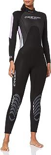 Cressi 女式 Morea 女士 3mm 优质氯丁橡胶全长潜水服,黑色/淡紫色,S 码
