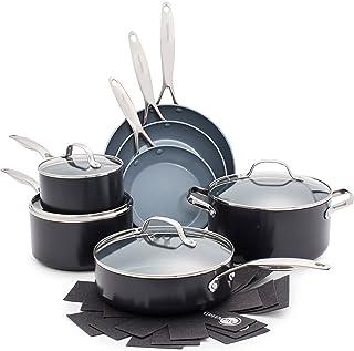 GreenPan CC000675-001 Valencia Pro 100% Toxin-Free Healthy Ceramic Nonstick Metal Utensil Dishwasher/Oven Safe Cookware Se...